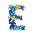 tropical floral summer letter e hand drawn vector image vector image