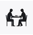 Two people playing chess silhouette vector image