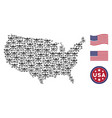 united states map mosaic of skull crossbones vector image