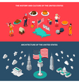 USA Touristic Attractions 2 Isometric Banners vector image