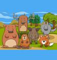 wild mammals animal characters group cartoon vector image