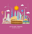 world landmarks sticker icon set vector image vector image