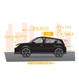 Businessman drives the car in city vector image