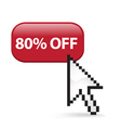 80 Off Button Click vector image vector image