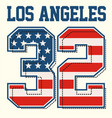 athletic los angeles textured american flags vector image vector image