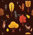 autumn forest cute animals seamless pattern with vector image vector image