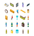 bar drinking icon set isometric view vector image vector image