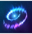 Blue shining cosmic neon light twirl vector image