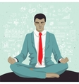 Businessman meditating with background of social vector image vector image