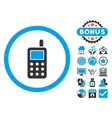 Cell Phone Flat Icon with Bonus vector image