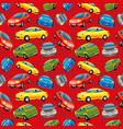 cheerful cars on a red background vector image
