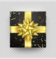 christmas gift box present golden ribbon bow gold vector image vector image