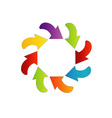 Circular design element with colorful arrows vector image