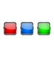 colored glass 3d buttons with chrome frame square vector image vector image