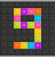 colorful brick block number nine flat design vector image
