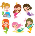 colorful mermaid clipart set vector image