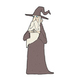 comic cartoon old wizard vector image vector image