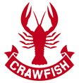 crawfish label vector image