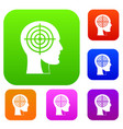 crosshair in human head set color collection vector image