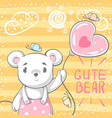 cute bear with air balloon vector image