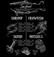 design for a seafood restaurant menu vector image vector image