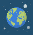 earth globe on space background vector image vector image