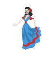 female skeleton in mexican dress day dead vector image