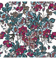 floral pattern with flowers in vintage style vector image vector image