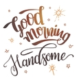 Good morning handsome calligraphy vector image