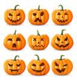 Halloween background pumpkin set vector image