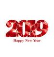 happy new year card with text number 2019 vector image vector image