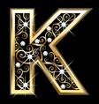 K gold letter with swirly ornaments vector image vector image