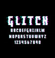latin alphabet trendy style distorted glitch vector image vector image