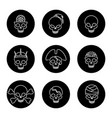 linear skulls icons on black circles vector image vector image