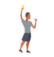 man professional soccer referee showing yellow vector image