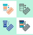 medical pills bottle icon set in flat and line vector image