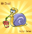 mr snail with drinks vector image vector image