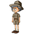 old man in safari clothes with serious face vector image vector image