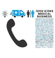 Phone Icon with 1000 Medical Business Symbols vector image vector image