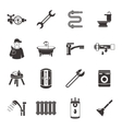 Plumbing Icon Set In Black vector image