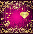 purple valentines frame with golden hearts vector image