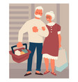 retired elderly couple on shopping buying food at vector image