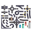 road parts vehicles set vector image