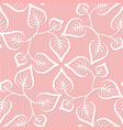seamless leaves lace pattern on pink background vector image vector image
