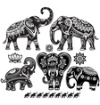 set decorated elephants vector image vector image