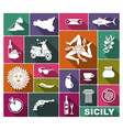 set icons on a theme sicily vector image