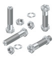 set of isometric steel screws bolts nuts and vector image vector image