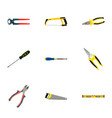 set of tools realistic symbols with screwdriver vector image