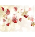 Shiny hearts bokeh light Valentines day EPS 10 vector image vector image