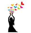 silhouette of woman with colored hearts in her vector image vector image